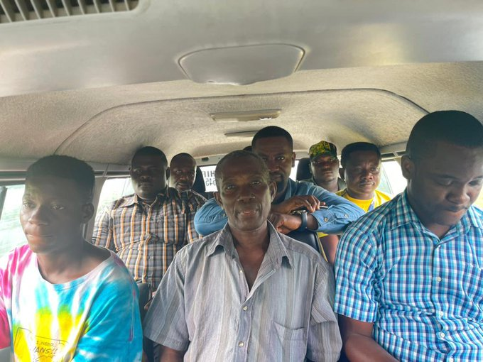 Popular NDC MP spotted inside trotro in a village.